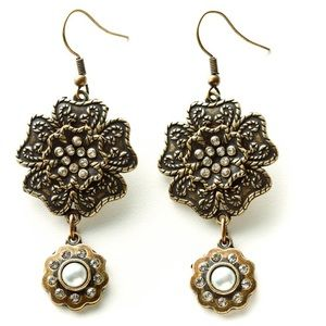 🆕Kelly Rae Roberts Boho Bronze Flower Earrings